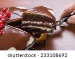 Slice Of Glazed Chocolate Cake...