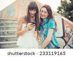 beautiful hipster young women... | Shutterstock . vector #233119165