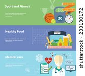 healthy lifestyle flat banners...   Shutterstock .eps vector #233130172