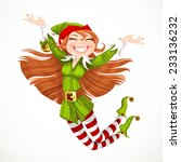 cute girl santa elf jump with...