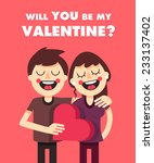 drawn characters couple in love ... | Shutterstock .eps vector #233137402