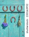 rusty horseshoe   wheat bunch... | Shutterstock . vector #233163952