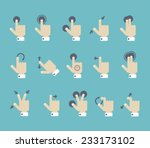 flat style multi touch screen... | Shutterstock .eps vector #233173102