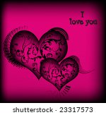 retro vector lovely hearts with ... | Shutterstock .eps vector #23317573