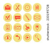 set of yellow icons for web and ...