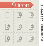 vector mobile icon set on grey... | Shutterstock .eps vector #233199946