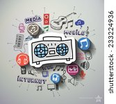 entertainment and music collage ...   Shutterstock .eps vector #233224936