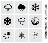 vector snow icon set on grey...