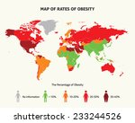 map of rates of obesity | Shutterstock .eps vector #233244526