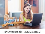 happy young mother with baby... | Shutterstock . vector #233282812