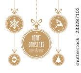 christmas ball gold isolated...   Shutterstock .eps vector #233287102