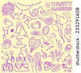 set of wedding theme doodles ... | Shutterstock .eps vector #233291608