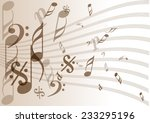 vintage music notes paper | Shutterstock .eps vector #233295196