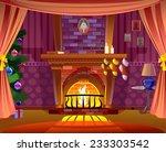 fireplace. christmas card   Shutterstock .eps vector #233303542
