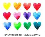 watercolor hearts | Shutterstock . vector #233323942