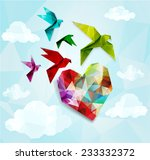 Colorful Origami Birds With...