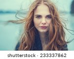 portrait of a beautiful girl on ... | Shutterstock . vector #233337862
