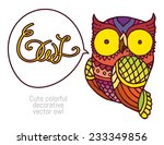 owl in patterns and hand...   Shutterstock .eps vector #233349856
