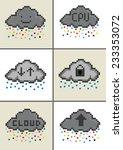 cloud computing pixel art cloud ... | Shutterstock . vector #233353072