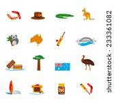 australia travel icons flat set ... | Shutterstock .eps vector #233361082