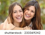 two women friends laughing with ... | Shutterstock . vector #233369242
