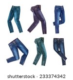 jeans isolated on white... | Shutterstock . vector #233374342