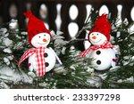 Two Smiling Snowmen Friends In...