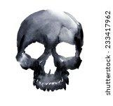 watercolor black skull. vector... | Shutterstock .eps vector #233417962