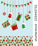 colorful christmas socks and... | Shutterstock .eps vector #233443732