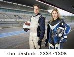motor cyclist and a race car... | Shutterstock . vector #233471308