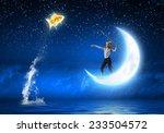 cute girl fisherman throwing... | Shutterstock . vector #233504572