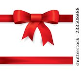 red gift bows with ribbons.... | Shutterstock .eps vector #233508688