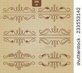 vector set of vintage borders...   Shutterstock .eps vector #233553142
