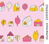 cute cartoon pattern with tiny... | Shutterstock .eps vector #233555962
