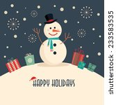 christmas card with snowman | Shutterstock .eps vector #233583535