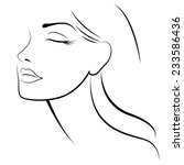 face of woman with closed eyes | Shutterstock .eps vector #233586436