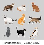 set of cute cartoon kitties or... | Shutterstock . vector #233643202