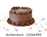 Chocolate birthday cake with sprinkles on a white background with copyspace. - stock photo