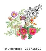 watercolor wildflowers on white ... | Shutterstock . vector #233716522