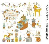 happy christmas animals | Shutterstock .eps vector #233716972
