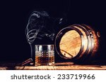 glass of alcohol and smoking... | Shutterstock . vector #233719966