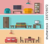 furniture icon set for rooms of ... | Shutterstock .eps vector #233725072