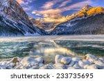Winter Sunrise Over Scenic Lake ...