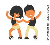 sporty girl and boy dancing... | Shutterstock .eps vector #233746426
