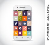 cellphone with flat icons | Shutterstock .eps vector #233753482