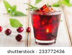 Cranberry Drink  On   A Wooden...