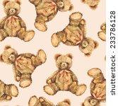 Watercolor Toy Teddy Bear...