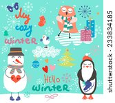 vintage christmas set of funny... | Shutterstock .eps vector #233834185