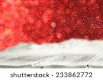 red wall of lights and table of ...   Shutterstock . vector #233862772
