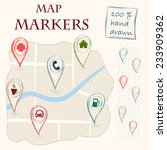 Hand Drawn Doodle Map Markers...